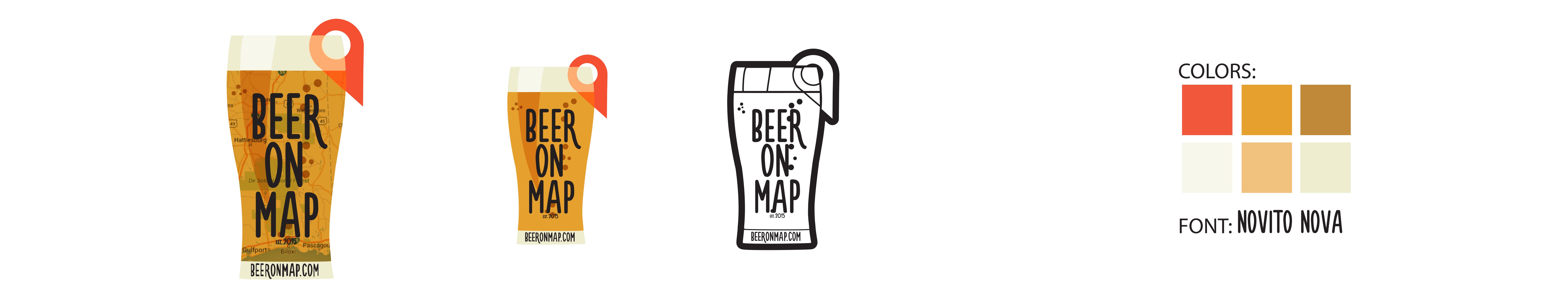 Beer on Map logo designs