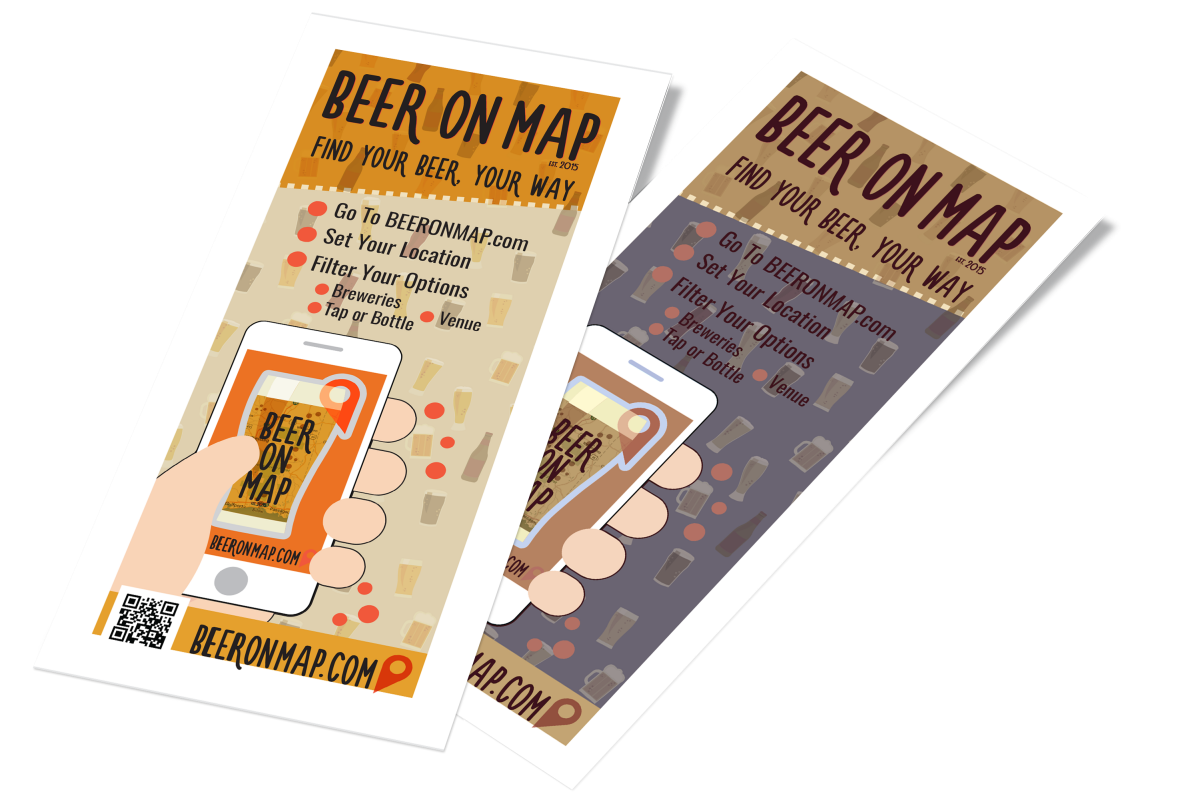 Beer on Map rack card design
