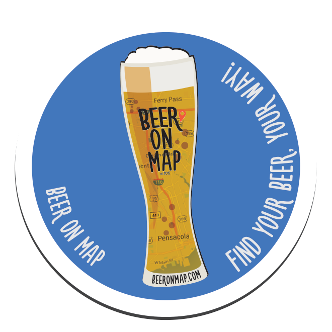 Beer on Map sticker tall design