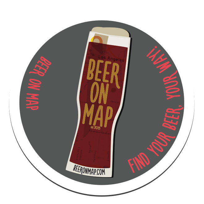 Beer on Map sticker dark and tall design