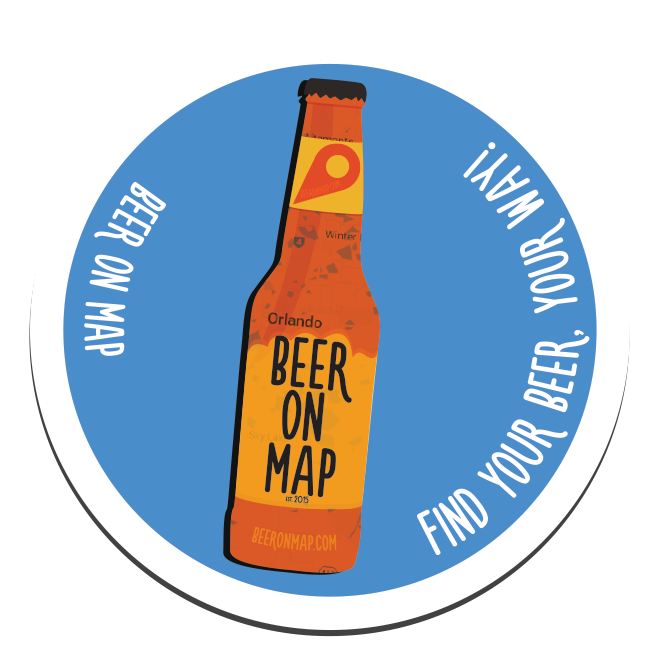 Beer on Map sticker bottle design