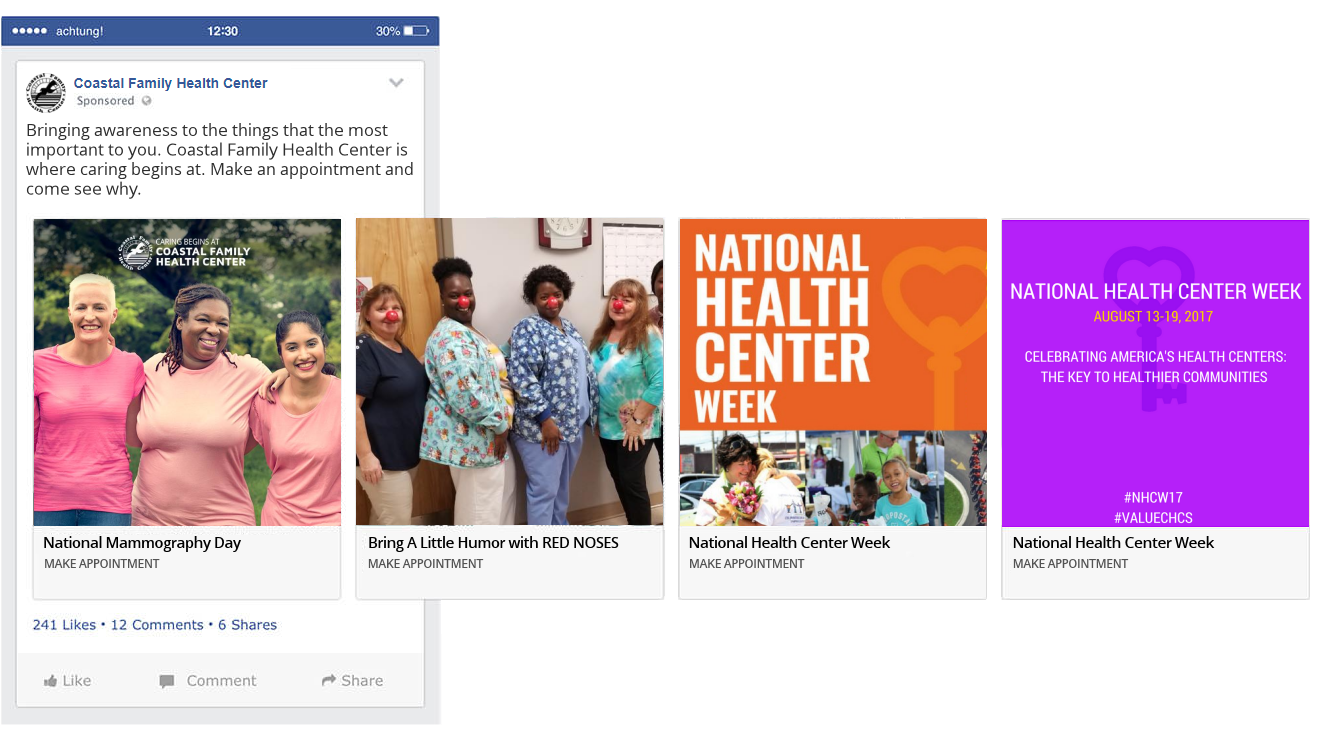 Costal Family Health Center social media boosted posts and ads design