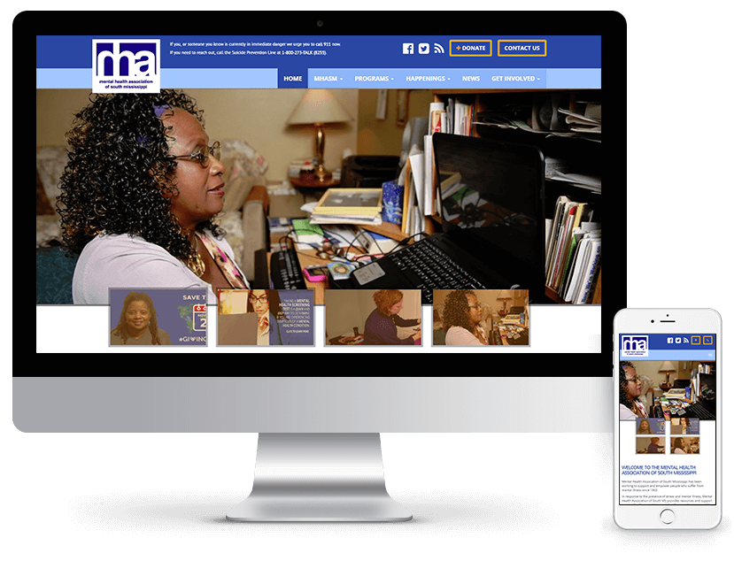 Mental Health Association of South Mississippi website design