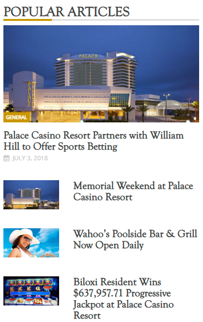 Palace Casino Resort blog and news website design