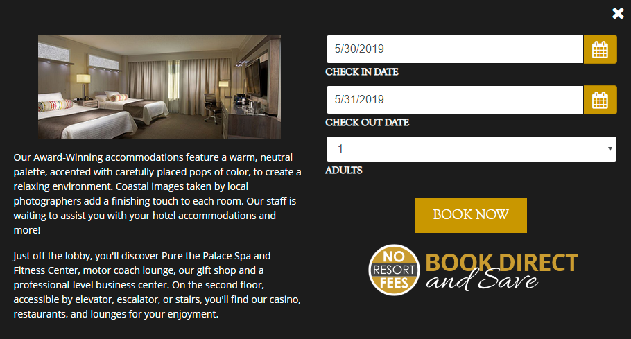 Palace Casino Resort website design hotel booking integration