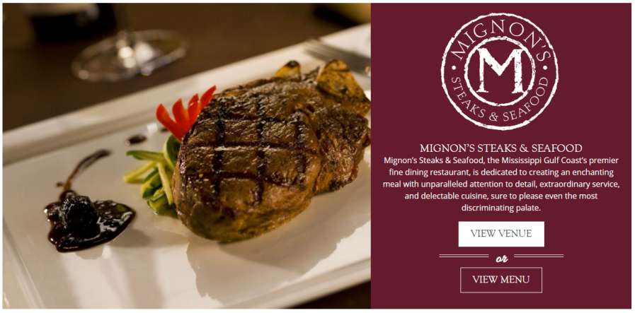 Palace Casino Resort website design restaurant placement and design
