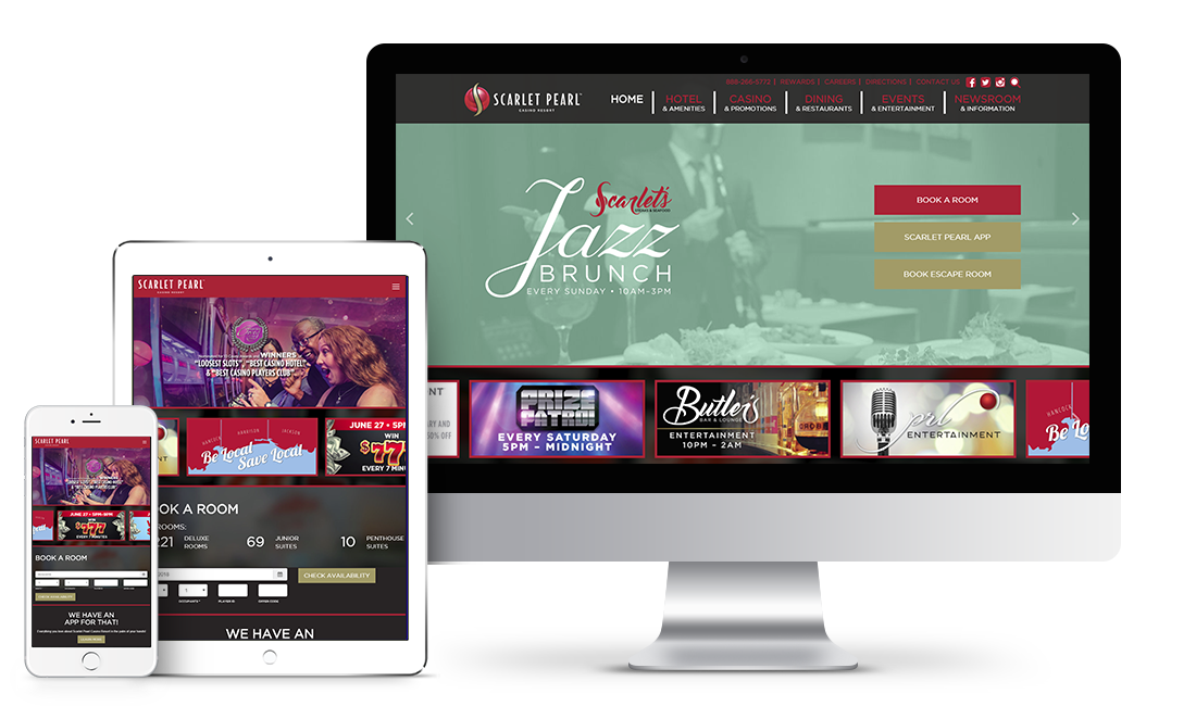 Scarlet Pearl Casino Resort website design preview